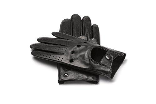 napoDRIVE - Touchscreen Echtleder Handschuhe für Herren (M, Schwarz)