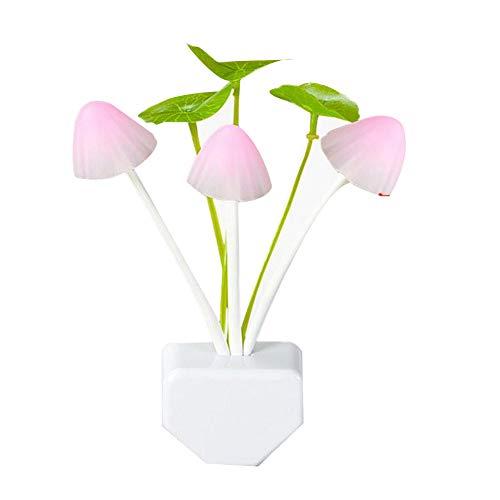 Rrunzfon EU Plug-in LED-Pilz-Nachtlicht-7-Farbe ändern Light Sensor Wandleuchte Bett Lampe für Schlafzimmer Badezimmer Wohnzimmer 1PC -