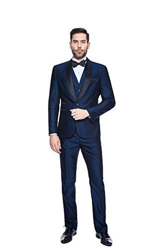 WEEN CHARM Herren Anzug 3-Teilig Schalkragen Anzug Sakko,Weste,Anzug Hose Blau