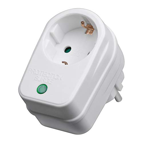 Steckdosenadapter mit Überspannungsschutz | 230 V | Blitzschutz Netzschutz Zwischenstecker Steckdose | 3500 W | mit Kindersicherung