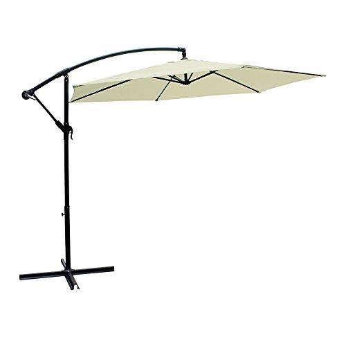 Aktive Garden 53887 - Parasol Excéntrico Banana Diámetro 300 cm, Mástil de Aluminio Diámetro 48/42 mm, Crema