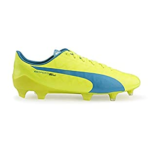 PUMA Men's evoSPEED SL-S FG Safety Yellow/Atomic Blue/White Soccer Shoes - 8A