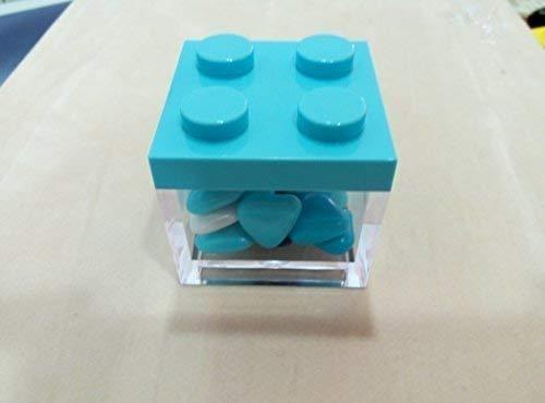 Scatolina bomboniera tipo lego quadrata plexiglass tappo in plastica celeste cm 5x5x5 confezione da 3 pezzi - senza confetti