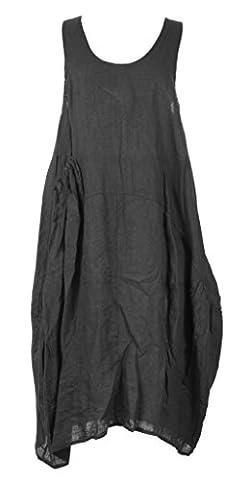 TEXTURE ONLINE Ladies Women Italian Lagenlook Quirky Sleeveless One Side Pocket Linen Midi Dress One Size Plus UK 14-20 (One Size Plus, Dark Grey)
