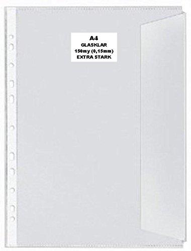 50x A4 Dokumentenhülle GLASKLAR GLATT Prospekthülle mit Klappe 150my extra Stark DOKUMENTENECHT, RECYCELBAR