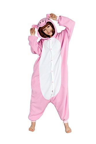 dressfan Unisex Adult Kinder Tier Pyjamas Pink Schwein Cosplay ()