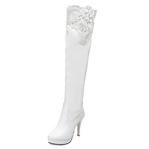 YE Damen Winter Warm Gefüttert Spitze Stretch Overknee Stiefel mit 10cm Absatz High Heels Plateau Stiletto Boots
