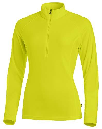 Medico Damen Ski Shirt, 46, fern green, Grün, 100% Polyester, Fleece, langarm, Reißverschluss