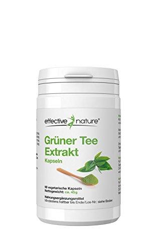 effective nature Grüner Tee Extrakt – 90 Vegane Kapseln – Ohne Zusatzstoffe – Hochkonzentriert