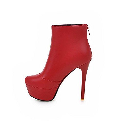 AgooLar Damen Beschlagene Strass Hoher Absatz Rund Zehe Eingelegt Reißverschluss Stiefel Rot