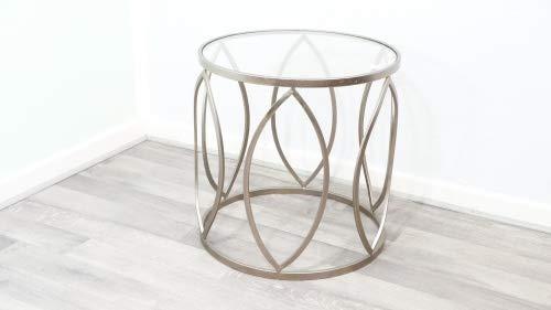 Wohnliebhaber Beistelltisch Antik Bronze Messing Metall Glas Vintage Tisch Beistelltisch Geometrisch