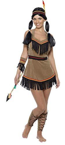 SMIFFYS Costume da donna ispirato ai nativi americani, marrone, con vestito, cintura, ba