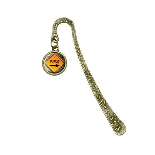 detour-arrow-stylized-orange-grey-caution-sign-book-bookmark-placeholder-with-charm