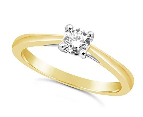 Bague en or jaune 1/4 carat avec diamant pour femme - 4 griffes_53