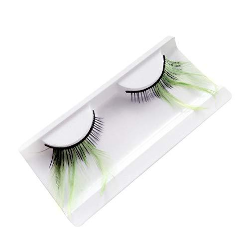 Kentop Lange falsche Wimpern Make-up mit Federn für Masken, 1 Paar 11 * 5.2 * 1.5CM grün