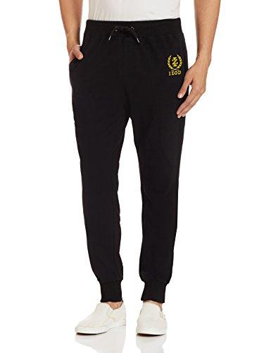 IZOD Mens Poly Cotton Track Pants (8907259319377_ZLTR0110_38W x 32L_Black)