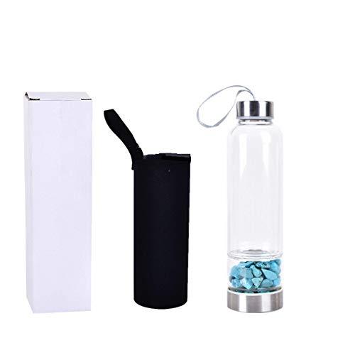 Suneven, borraccia in vetro riccio, in cristallo naturale, con ghiaia di quarzo, per la guarigione, 550 ml Aventurine Quartz