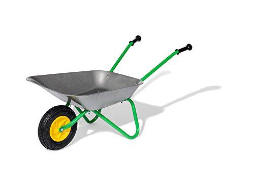 Rolly Toys 271757 rollyMetallschubkarre Air Tyre | Schubkarre für Kinder ab 2,5 Jahren | Farbe grau/grün  | TÜV/GS geprüft