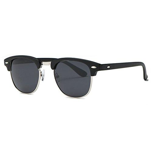 kimorn Polarisierte Sonnenbrille Unisex Retro Halb-Randlos Rahmen Klassisch Eyewear AE0550 (Matte Schwarz&Silber, 52)