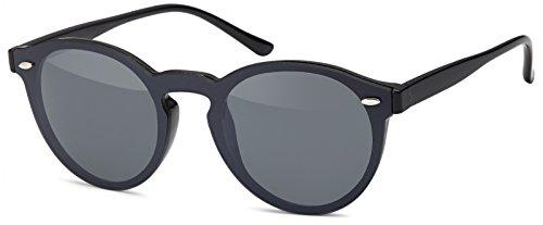 styleBREAKER Monoglas Sonnenbrille mit Flachgläsern und Kunststoff Bügel, runde Glasform, Unisex 09020081, Farbe:Gestell Schwarz/Glas Grau Volltönung