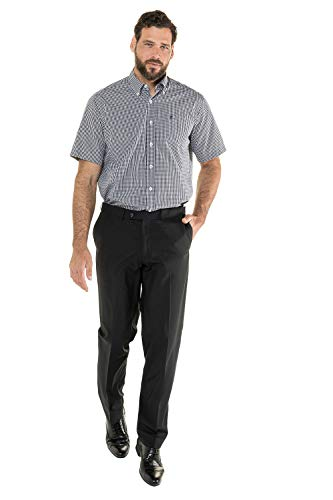JP 1880 Herren große Größen Hemd, Halbarm, Comfort Fit, Buttondown-Kragen schwarz L 703620 10-L