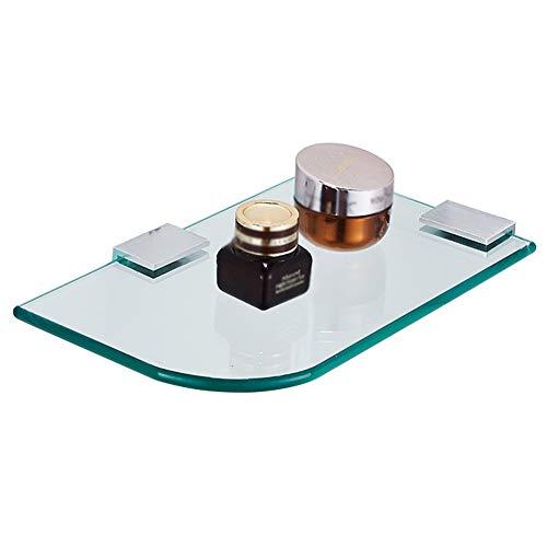 HQQ Badezimmer Regal Dusche Organizer Wand-Locher Gehärtetem Glas Raum Aluminium Halbkreisförmige Toilette 1 Tier, 25x15 cm -