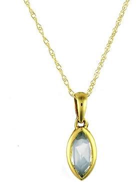 Ivy Gems Halskette 9 Karat (375) Gelbgold Marquiseschliff Blautopas Anhänger mit Prince of Wales-Kette 46 cm