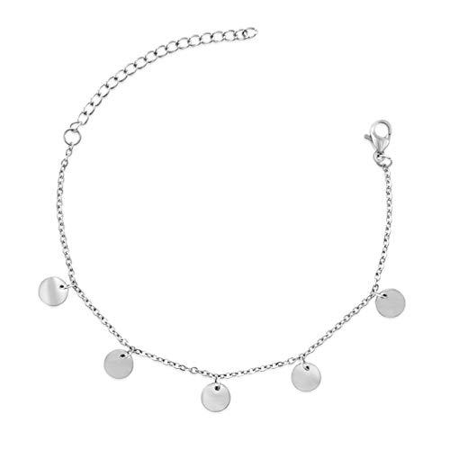 BAFFOS® Armband für Frauen - Plättchen Kette aus widerstandsfähigem Edelstahl in Farbe Silber - Damen Schmuck Armkette + Armreif Geschenk für Freundin oder Hochzeitstag