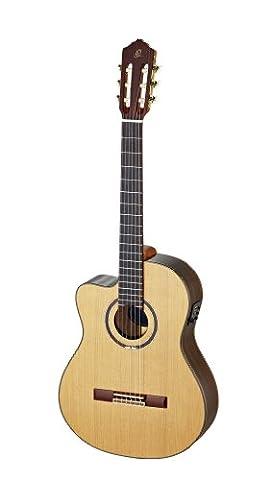 Ortega RCE159MN-L Konzertgitarre in 4/4 Größe Linkshänder Cutaway elektrifiziert medium Hals 50mm massive Decke natur hochglanz mit hochwertigen Gigbag und Gurt