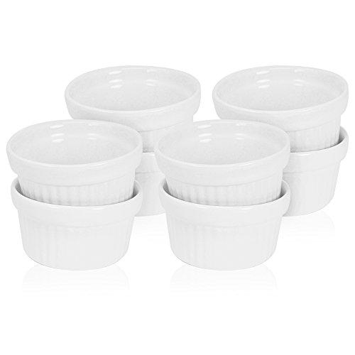 COM-FOUR® 8x Ragout Fin Schalen aus Keramik, große Auflaufform und Pastetenförmchen für z.B. Creme Brulee, in weiß, 160 ml (08 Stück)