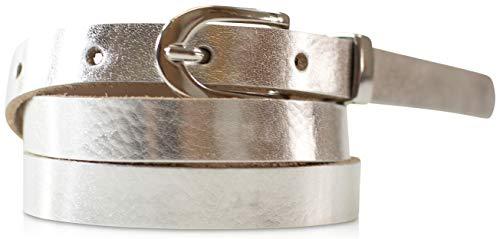 fashionchimp ® Basic Damengürtel aus 100% echtem Leder, schmaler Gürtel, Breite ca. 1,5cm, Made In Germany (Silber-Metallic, 110/BW95) -