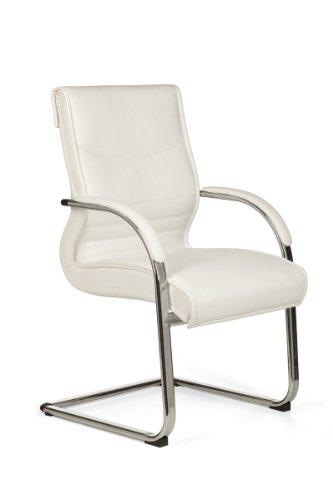 Freischwinger, Besucherstuhl bzw. Schwingstuhl X-XL mit Kunsterlder weiß bezogen - belastbar bis...