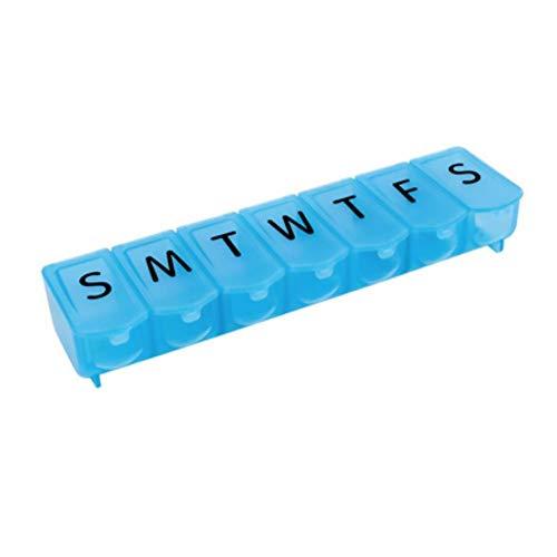 ouken Wöchentliche Pill Organizer 7-Tages-Ultra-Blase-Loki Tablettenbox Push Button Pill Planer Medikation Tägliche Medizin Erinnerung 1PC.