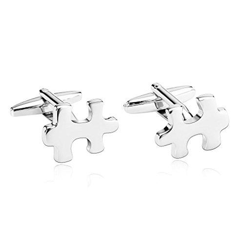 KnSam Herren Edelstahl Französische Manschettenknöpfe Einfachheit Jigsaw Puzzle Piece Silber[Hemd Manschettenknöpfe Hochzeitsgeschäft] (Pinguin Jigsaw Puzzle)