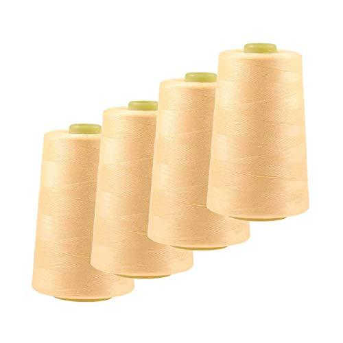 maDDma 4 x 4572m Overlockgarn Nähgarn Polyester Overlock Garn, wähle aus 400 Farben, Farbe:A703 zartes gelb
