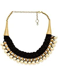 Fedexo BEAUTIFUL PEARLS WITH BLACK AND GOLDEN NECKLACE For Women