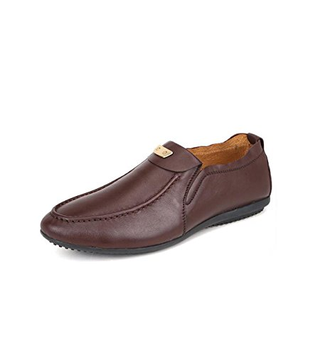 GRRONG Chaussures Pois Hommes En Cuir Chaussures Hommes De Souliers Simple brown