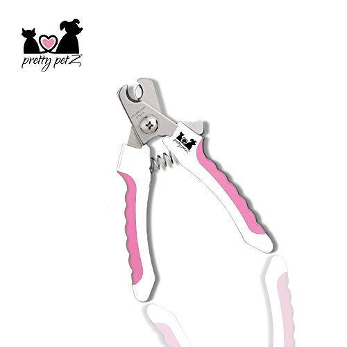 pretty petZ Krallenzange für Hund & Katze in Top Qualität | Krallenschere mit Schutzvorrichtung für die optimale Krallenpflege | + GRATIS E-Book (S - Für kleine Hunde, Katzen und Nager, Pink)