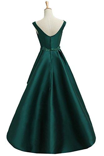 Promgirl House Damen Elegant Aermellos Hi-Lo Traeger Satin Abendkleider Ballkleider Weinrot