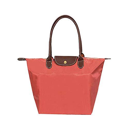 EXQULEG Tragetasche, Schultertaschen Damen Wasserdichte Handtaschen aus Nylon Umhaengetasche Strand Tasche (medium, Wassermelonenrot) (Canvas Strand Tasche)