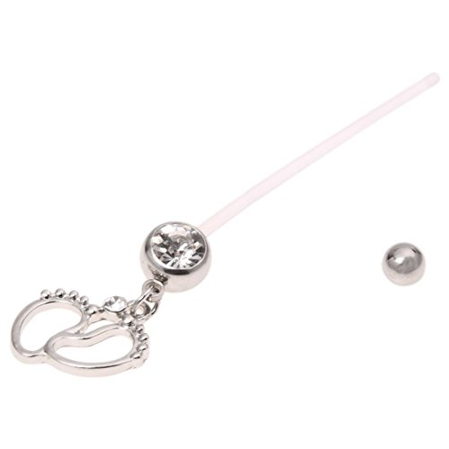 Belly bar piercing ring - SODIAL(R)Flexible Pregnancy Maternity Belly Navel Bar Ring Body Piercing Baby Feet White