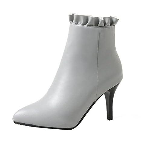 UH Damen Stiletto Stiefeletten Spitze Ankle Boots mit Fell und Reißverschluss 8cm Absatz Elegante Warm