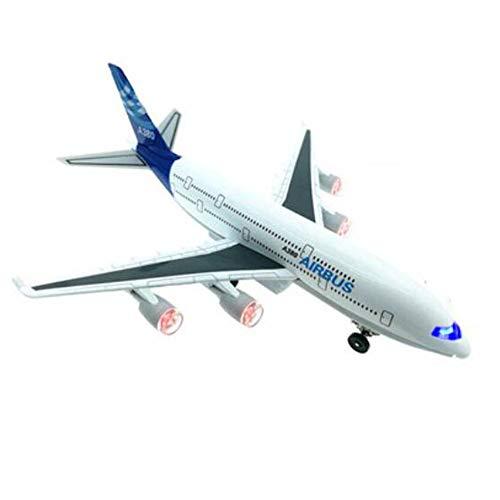 Chinashow Kinder Spielzeug Flugzeug Legierung Metall Flugzeug Modell Pullback Flugzeug mit realistischen Flugzeug Sounds A380 Airbus Blau