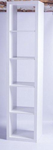LOFT Regal mit 5 Fächern Bücherregal Wohnzimmer Schlafzimmer Lounge Cube Wandregal kombinierbar Weiß (Regal-schlafzimmer-bücherregal 5)