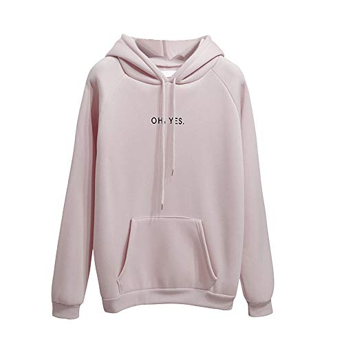 (OH YES Brief Gedruckt Sweatshirt Damen Hoodie, MYMYG Damen Langarm Brief Sweatshirt Pullover Hoodie Tops Bluse(Beige,EU:36/CN-M))
