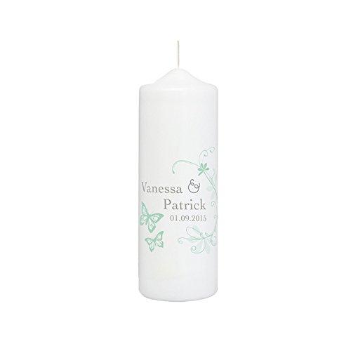 Hochzeitskerze mit Namen und Datum, weiß mit Schmetterlingen in Mint - personalisiert, finaler Wachs-Überzug für glatte Oberfläche -