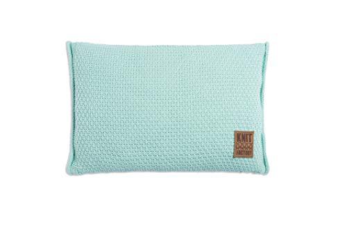 Knit Factory 091308 Dekokissen Strickkissen Jesse mit Füllung, 60 x 40 cm, Mint