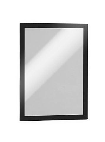 Durable 488201 Duraframe Pochette Cadre d'Affichage Dos Adhésif pour Document A4 Noir Lot de 10