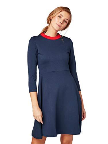 TOM TAILOR für Frauen Kleider & Jumpsuits Kleid mit Kontrast-Ausschnitt Real Navy Blue, 36