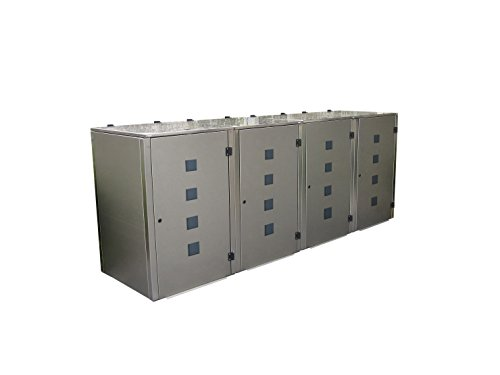 Mülltonnenbox Edelstahl, Modell Eleganza Quad 240 Liter als Viererbox - 4